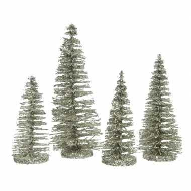 Mintgroene kleine kleine kunst kerstboom glitter 15 cm 4 stuks