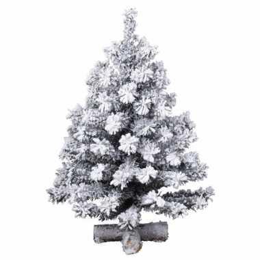 Namaak kleine kerstboom 90 cm met kunstsneeuw