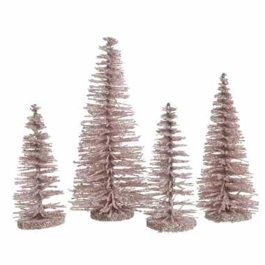 Roze kleine kleine kunst kerstboom glitter 15 cm 4 stuks
