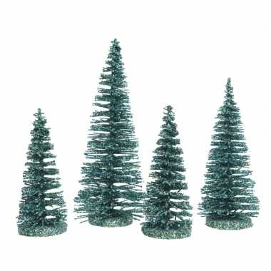 Smaragd kleine groene kleine kunst kerstboom glitter 15 cm 4 stuks