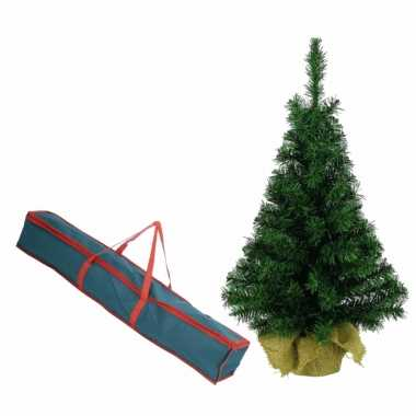 Volle kleine kerstboom in jute zak 60 cm kunstbomen inclusief opbergzak