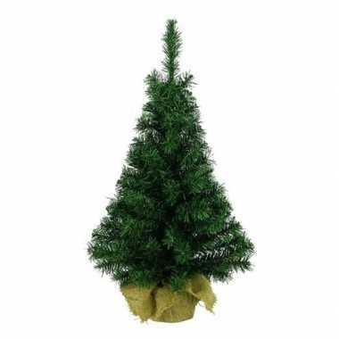 Volle kleine kerstboom in jute zak 75 cm kunstbomen