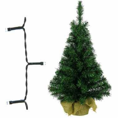 Volle kleine kerstboom/kunstboom 75 cm inclusief warm witte verlichting op batterij
