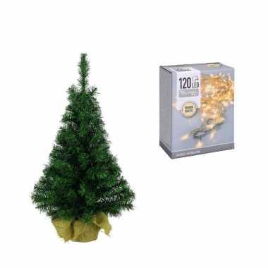Volle kleine kerstboom/kunstboom 75 cm inclusief warm witte verlichting