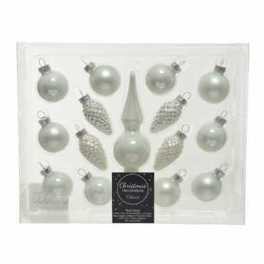 Winter witte glazen kerstballen en piek set voor kleine kerstboom 15 dlg