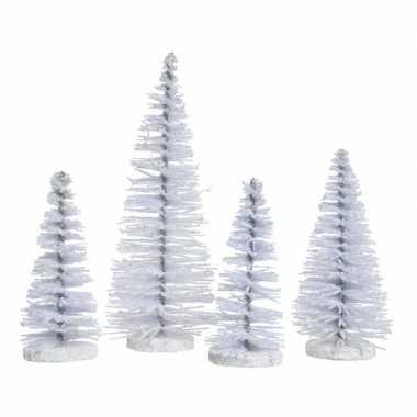 Witte kleine kleine kunst kerstboom glitter 15 cm 4 stuks
