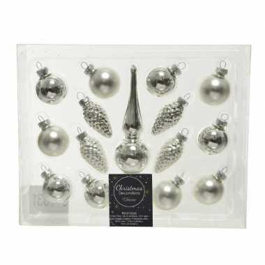 Zilveren glazen kerstballen en piek set voor kleine kerstboom 15 dlg