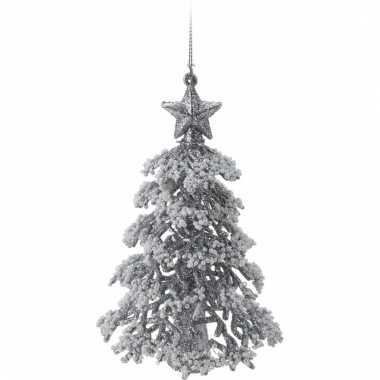 Zilveren glitter kleine kerstboom 16 cm
