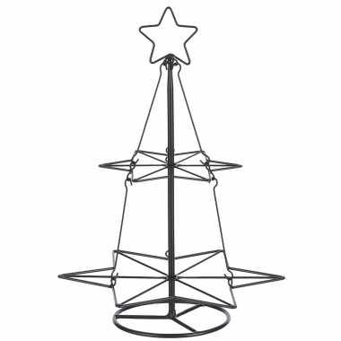 Zwarte metalen kleine kerstboom decoratiestuk 40 cm