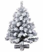 Besneeuwde kleine kunst kerstboom op kruispoot 45 cm kunstbomen