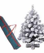 Besneeuwde kleine kunst kerstboom op kruispoot 75 cm inclusief opbergzak
