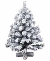 Besneeuwde kleine kunst kerstboom op kruispoot 75 cm kunstbomen