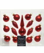 Kerst rode glazen kerstballen en piek set voor kleine kerstboom 15 dlg