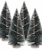 Kerstdorp onderdelen 4x kleine kerstboom 15 cm met led verlichting
