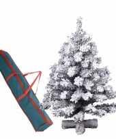 Kleine kunst kerstboom groen sneeuw 90 cm op kruis inclusief opbergzak