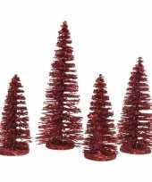 Rode kleine kleine kunst kerstboom glitter 15 cm 4 stuks